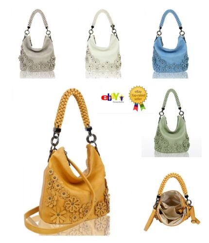 New Women/'s Ladies 3 D Flower Pattern Slouch Style Hand Bag With Stylish Handle