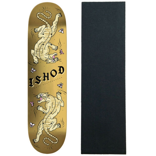 """Real Skateboard Deck Ishod Cat Scratch Gold 8.25/"""" x 31.8/"""" TwinTail with Grip"""