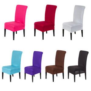 Housse Chaise Couverture Elastique Colore Pure Table Salle Manger