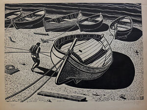 Maxime-Juan-1900-Very-Large-Wood-Engraved-Boats-Herault-Country-Basque-GB