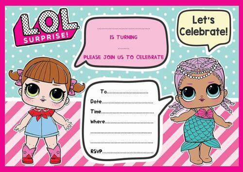 LOL BIRTHDAY PARTY INVITATIONS INVITES KIDS CHILDRENS