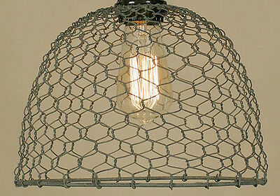 Barn Roof Gray Vintage Rustic Industrial Chicken Wire Dome Pendant Light Lamp