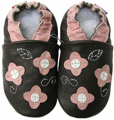 carozoo pink flower leaf brown 18-24m new soft sole leather baby shoes