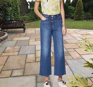 Nouveau-Femme-Bleu-Crop-Cheville-Jambe-Large-Next-Jeans-Taille-16-14-12-10-RRP-28