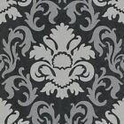 P&s Carat Damask Black & Silver Glitter Wallpaper 13343-40 Feature Wall Decor