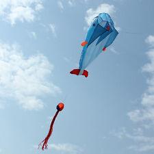 3D Kite Huge Frameless Soft Parafoil Giant Dolphin Kite Blue NEW US seller