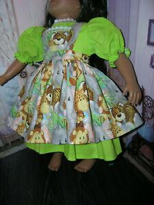 Green-Dress-Animal-Print-Apron-2-piece-Dress-23-034-Doll-clothes-fits-My-Twinn