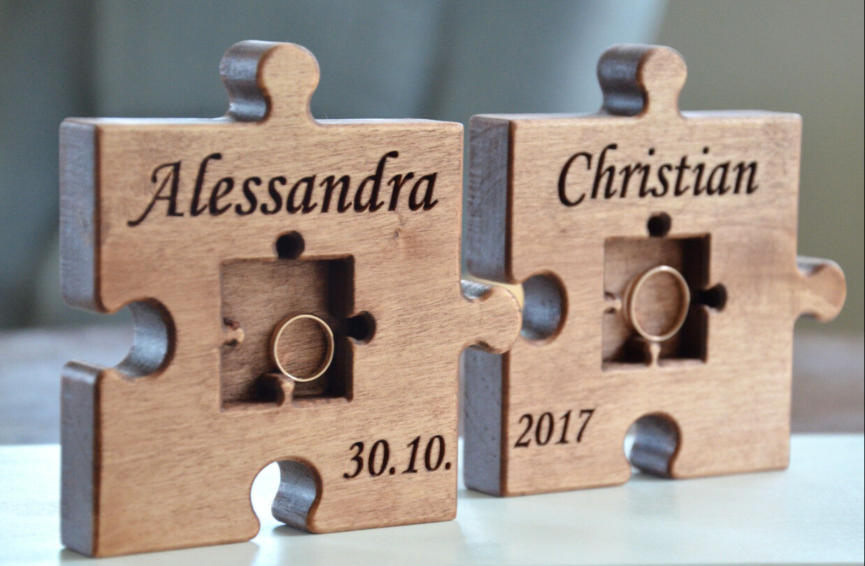 Personalized Rustic Wood Wedding Ring Bearer Puzzle Pillow Wedding Ring Ring Ring Holder c87908