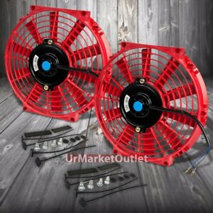 "2x Universal 9/"" Red Slim PULL//PUSH Electric Radiator Motor Cooling Fan+Mounting"
