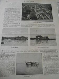 à Condition De 1899 Article De Presse Au Cambodge Panorama De Pnom-penh Mékong Sampang