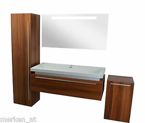 waschtisch 120cm badm bel set unterschrank mit aufsatzwaschbecken zwetschke ebay. Black Bedroom Furniture Sets. Home Design Ideas