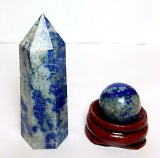 2.05oz Blue Lapis Lazuli Pyrite Wand Point & Crysal Sphere 20mm Ball Set + STAND