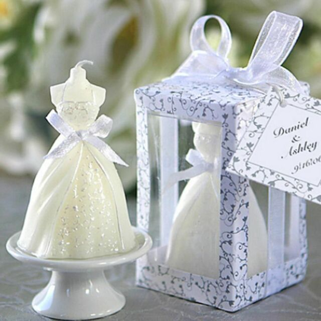 Elegant Boxed White Bridal Bride Shape Candle Wedding Party Home Decoration