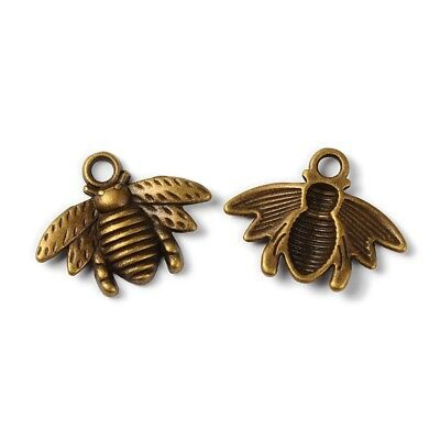 4 Bee Charms Antiqued Bronze Bumblebee Pendants Honey Bee Insect Findings