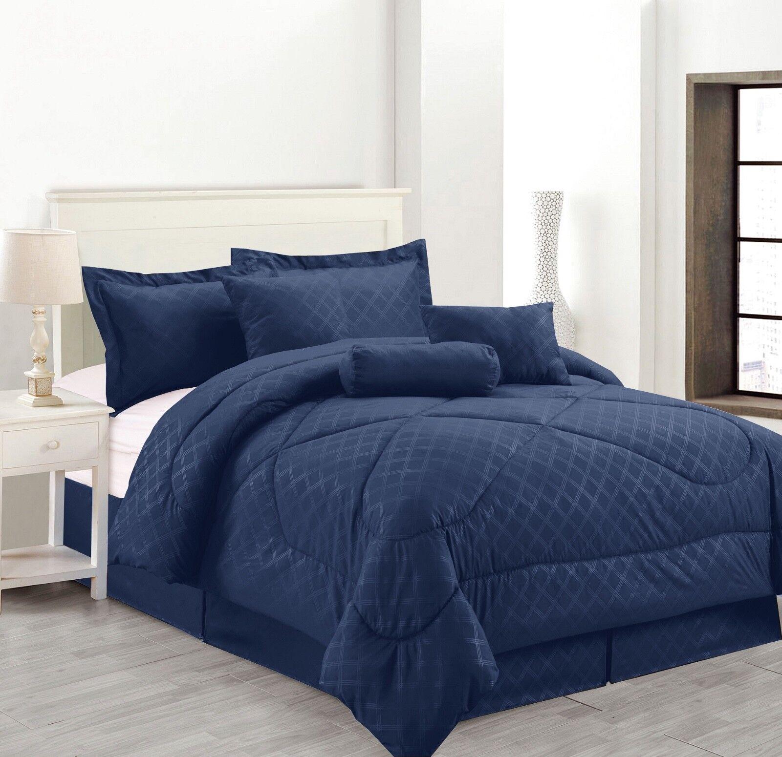 7 Piece Solid Luxury Hotel Comforter Set Bed In A bag All Größes - Navy Blau