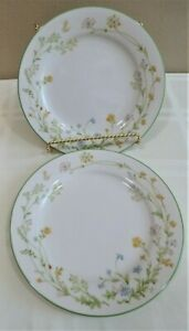 """Two (2) NORITAKE Reverie 8 3/8"""" Salad Plates Butterfly,Floral w/Green Trim,EXC"""