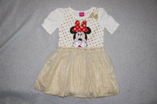 Toddler Girls S//S Dress MINNIE MOUSE Off White GOLD TULLE SKIRT Dots 2T 3T 4T 5T