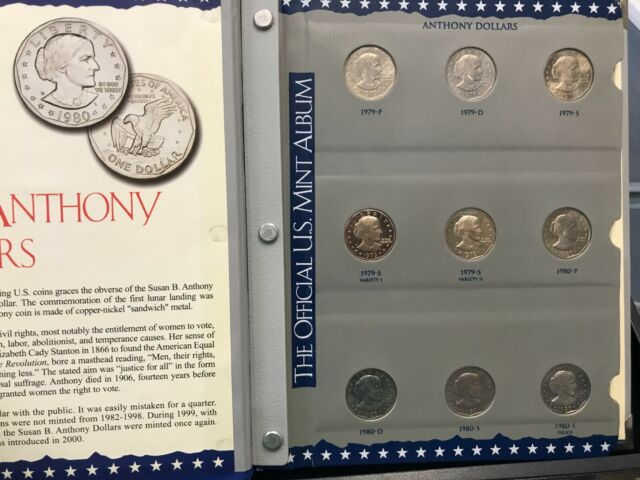 1979 1980 1981 1999 PDS PROOF SUSAN B ANTHONY DOLLAR COMPLETE SET 18 Coins