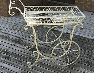 FRENCH-provincial-PLANTER-trolley-antique-IVORY-flower-cart-cottage-outdoor-New