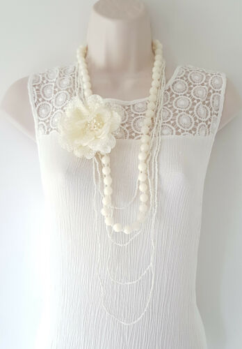 """Gorgeous 42/"""" long cream layered bead /& removeable flower brooch necklace set"""