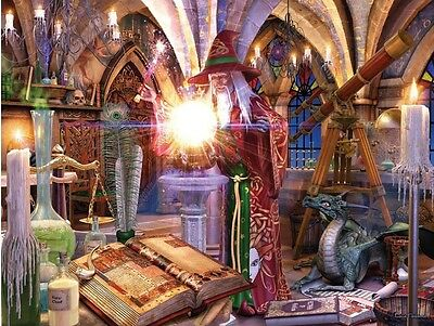 3D Picture Art Merlin Wizard brewing potion in castle 39 x 29 cm approx  New