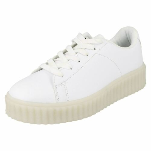 R33A Spot On Girls H3R061 White Lace Up LED Outsole Creeper Trainers