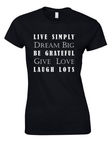 Live Simply Dream Big Quote Ladies Woman Tshirt Tee Top AJ17