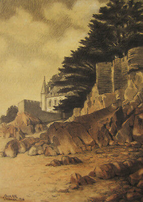 Art Drawings Marcel Alloueteau Landscape Drawing Locquirec Brittany France French Painting Ideal Gift For All Occasions