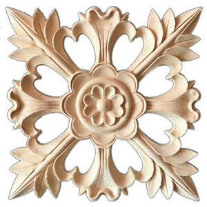 Details About 1X Rubber Wood Carved Floral Decal Craft Onlay Applique  Furniture DIY Decor Z6A4
