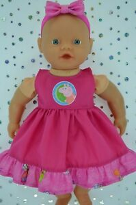 "PlaynWear Doll Clothes 13""Little Baby Born/Mommy PATTERN/HOT PINK DRESS~HEADBAND"