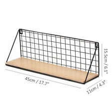 1x Retro Wall Storage Unit Retro Wood Industrial Style Metal Wire Shelf Rack Art