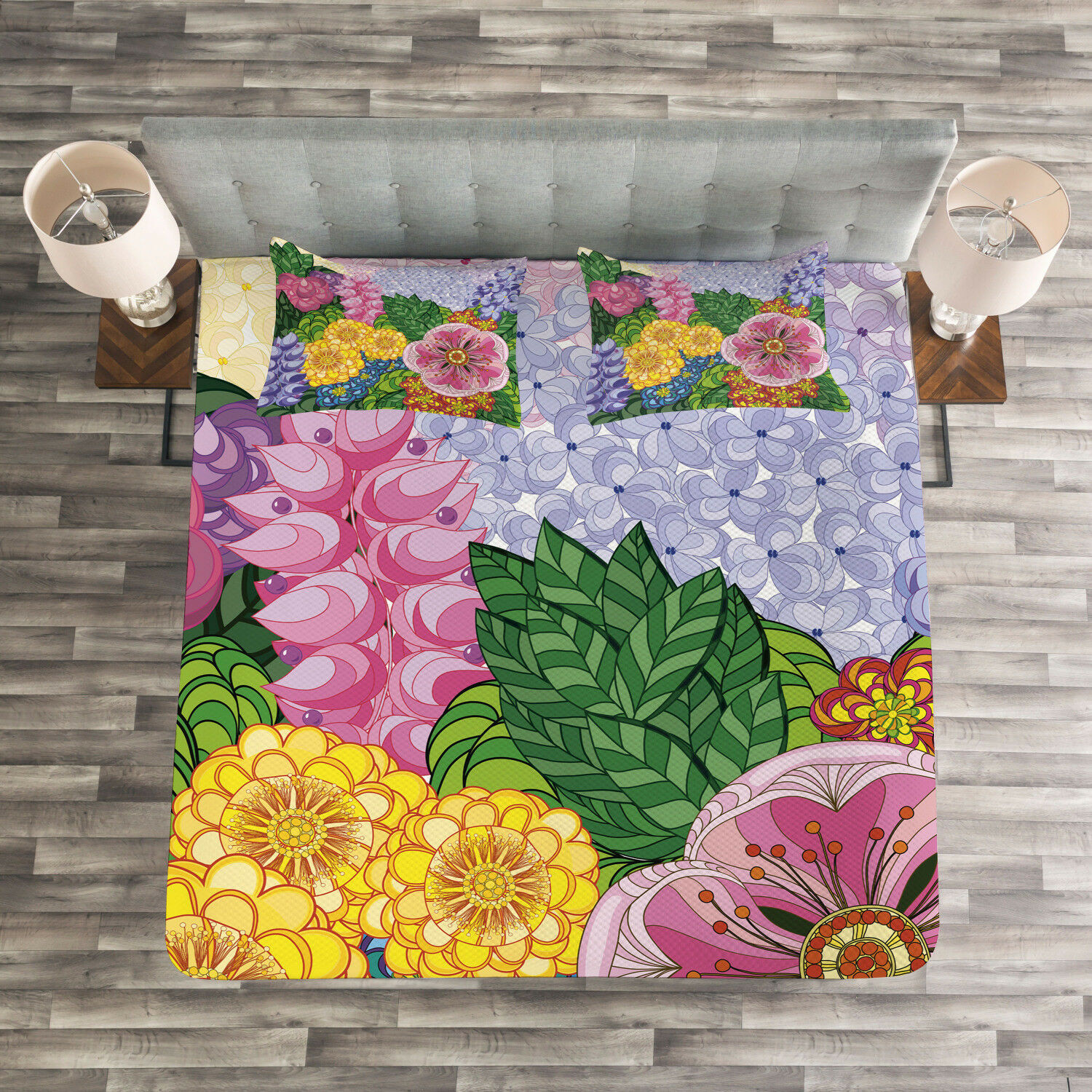 Vintage Quilted Bedspread & Pillow Shams Set, Nature Flowers Buds Print