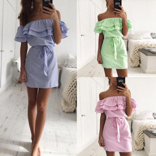 Summer Femme Robes Off Shoulder Bow Mini Dress Strapless Shirt Beach Sundress FP