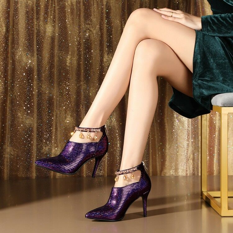 Wouomo Rhinestone Strap Ankle stivali High Heels Leather Pointed Toe Party scarpe