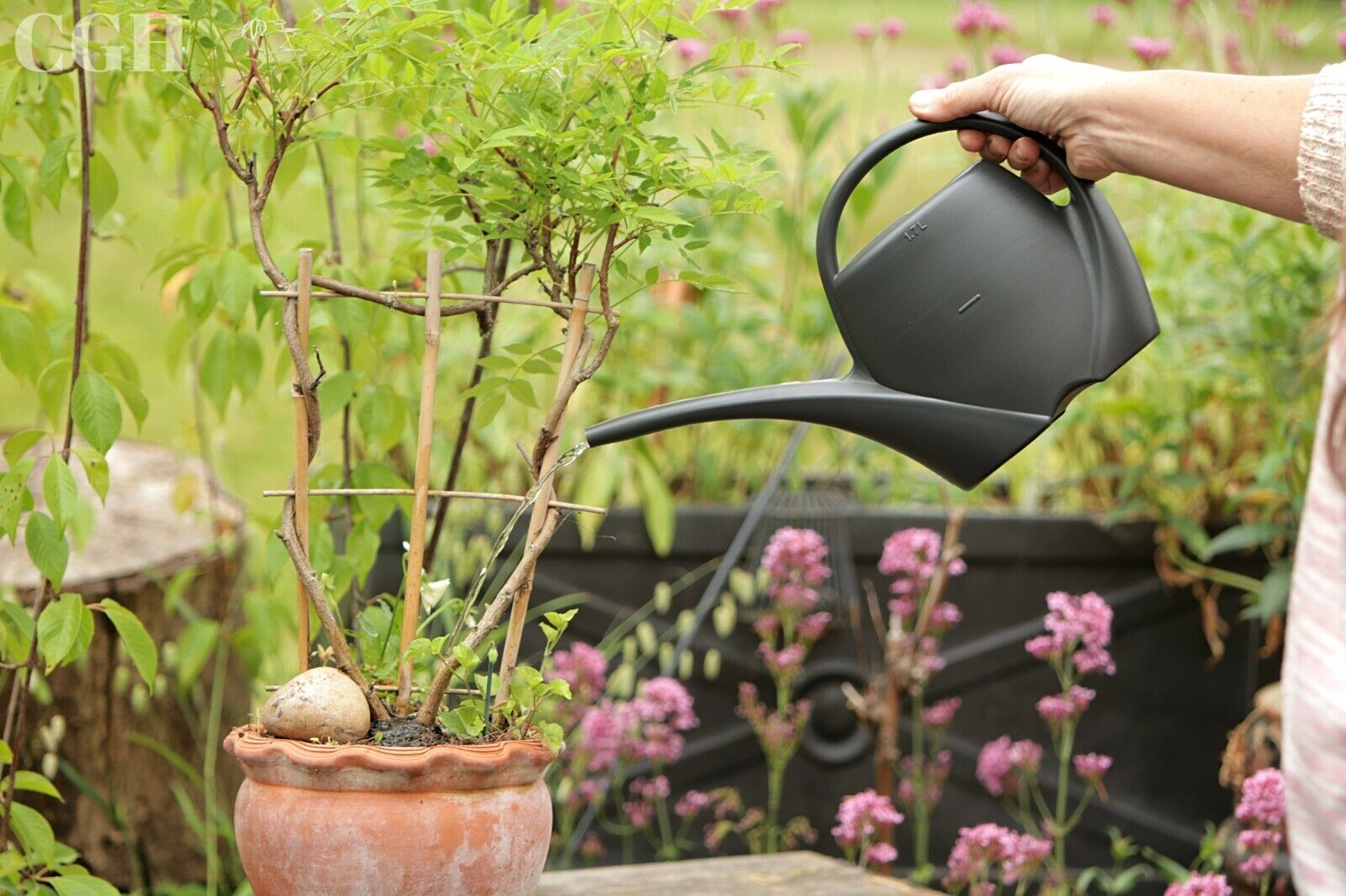 1.7L Handy Plastic Plant Watering Can Easy Pour Black water can container