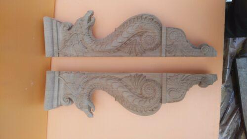 "Carved from oak wood. 20/"" Large Wooden Corbel//bracket Dragon"