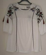Wrangler Womens Embroidered Floral Bohemian Top Blouse Size L Nwt
