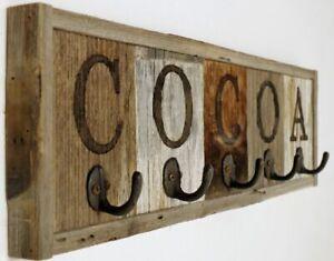 Rustic Rack Mug Cocoa Coffee Holder Cup Wood Kitchen 5Hook Hanger Wall Display