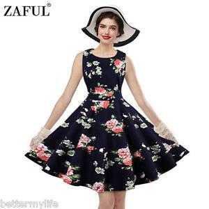 Details about Plus Size S-4XL Womens Vintage Dress Floral Sleeveless Ethnic  Retro Dress