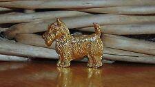 Gold Tone Scottie Dog Brooch