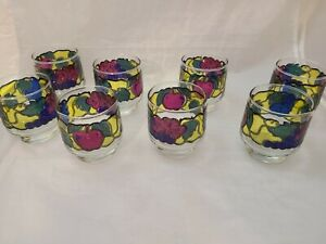 Set Of 8 Vintage Libbey Fruit Stained Glass Small Juice Tumbler Stackable 8 Oz Ebay