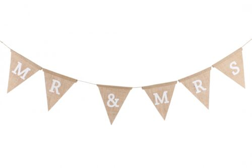 Mr and Mrs Jute Wedding Bunting Garland Rustic Shabby Chic Country DES570