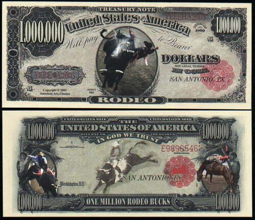 PBR BULL RIDING RODEO MILLION DOLLAR NOVELTY NOTES LOT OF 10 GREAT GIFT IDEA !!!