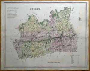 SURREY-LONDON-T-L-Murray-original-antique-hand-coloured-map-1830