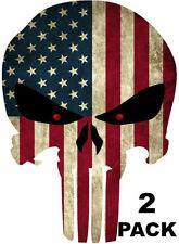 2x Punisher American Usa Sniper Color Flag Skull Die Cut Vinyl Decal Sticker