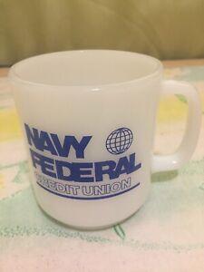 Navy Federal Credit Union Glasbake White Coffee Mug Made in USA