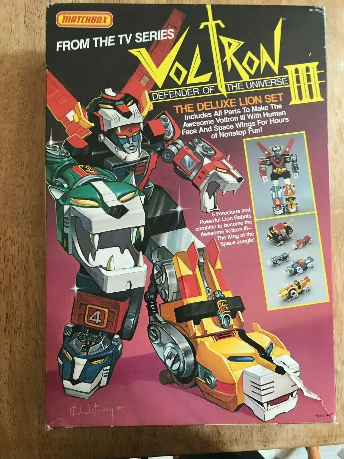 Voltron III Defender of the Universe Vintage 1984 Deluxe LIon set with scatola