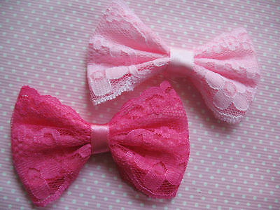 "20 Satin Ribbon Lace 3"" Hair Bow Applique-2 Colors R084"