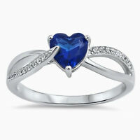 Usa Seller Heart Ring Sterling Silver 925 Best Jewelry Blue Sapphire Cz Size 5