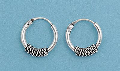 "4131 FREE SHIP! Bali Hoop .925 Sterling Silver Earrings .25"""